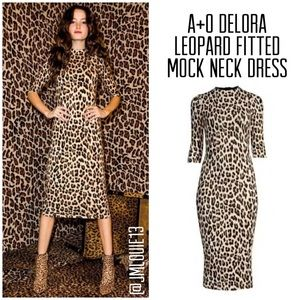 2019 Alice Olivia Delora Fitted Leopard Dress Sz 8